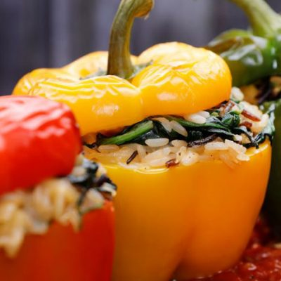 Applewood® Vegan Spinach and Pine Nut Stuffed Peppers